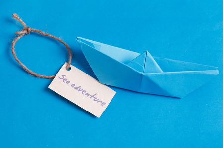 sailingboat: Label with the Words Sea aventure which means go to trip on the yacht Stock Photo