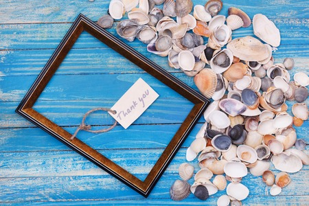 vocation: Sign Thank you with shells and photo frame. Vocation background