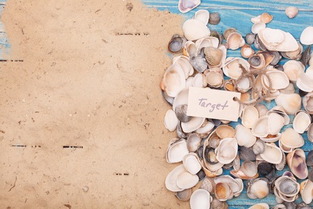 vocation: Sign target with shells. Vocation background Stock Photo