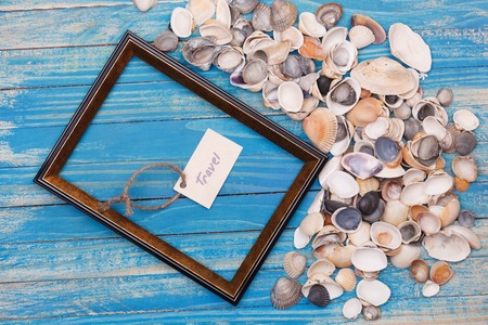 Sign Travel and photo frame. Vocation background Stock Photo