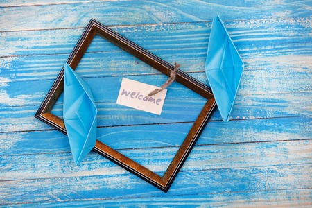 Sign Welcome with photo frame. Vocation background