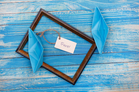 vocation: Sign Travel with photo frame. Vocation background