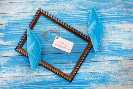 vocation: Sign Life is an adventure with photo frame. Vocation background