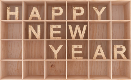 shelfs: 3D decorative wooden word in shelfs - happy new year
