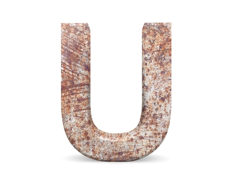 3D decorative Letter from an old rusty metal Alphabet, capital letter U