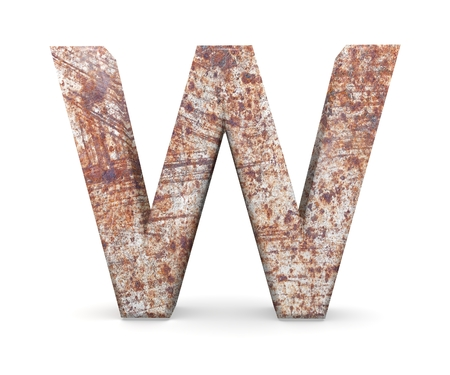 metal alphabet: 3D decorative Letter from an old rusty metal Alphabet, capital letter W