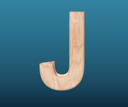3D decorative wooden Alphabet, capital letter J