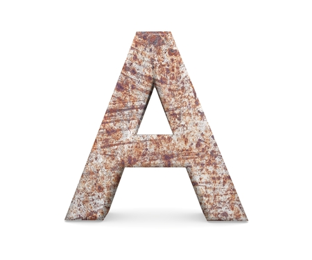 letras cromadas: 3D decorative Letter from an old rusty metal Alphabet, capital letter A