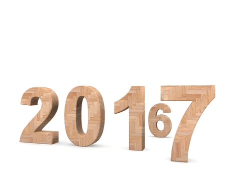 turn of the year: 3d illustration of 2017 New Year concept isolated on white background