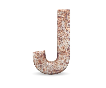 3D decorative Letter from an old rusty metal Alphabet, capital letter J Stock fotó