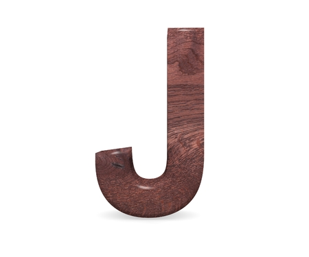 3D decorative Brown polished wooden Alphabet, capital letter J Stock fotó