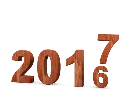 3d illustration of 2017 New Year concept isolated on white background