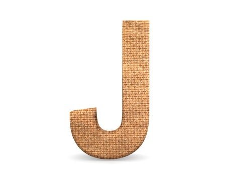 3D decorative Letter from an burlap Alphabet, capital letter J Stock fotó