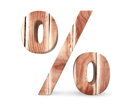 Decorative wooden alphabet digit percent symbol from wood planks. 3d rendering illustration. Isolated on white background Stock Photo