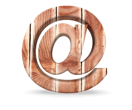 Alphabet wooden texture at email mark sign letter From Wood Planks. 3d rendering illustration Stock Photo