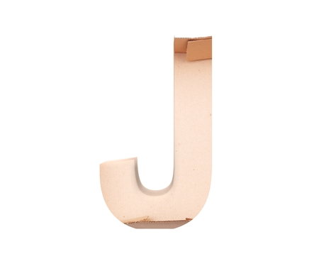 3D decorative Alphabet From cardboard box, capital letter J Stock fotó