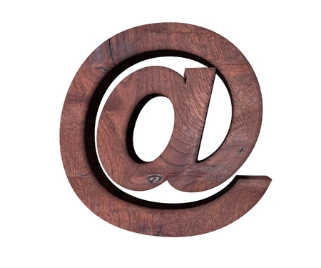 plywood: Alphabet wooden texture at email mark sign letter. 3d rendering illustration