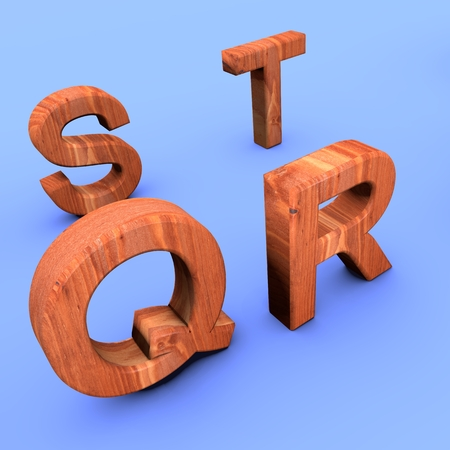 3D decorative wooden isometric Alphabet, capital letters on a blue background