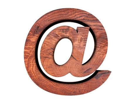 Alphabet wooden texture at email mark sign letter. 3d rendering illustration