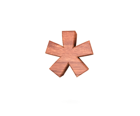 wood carving 3d: Decorative wooden digit symbol multiplication sum sing. 3d rendering illustration. Isolated on white background