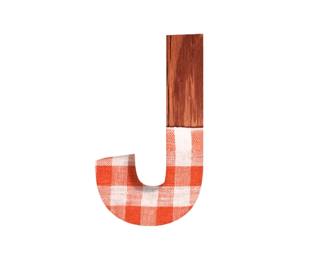 3D decorative wooden with kitchen tablecloth Alphabet, capital letter J