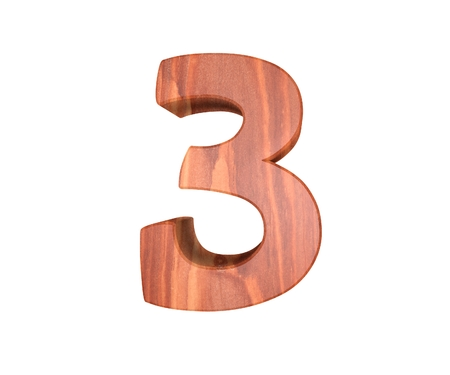 plywood: Decorative wooden alphabet digit three symbol - 3. 3d rendering illustration. Isolated on white background