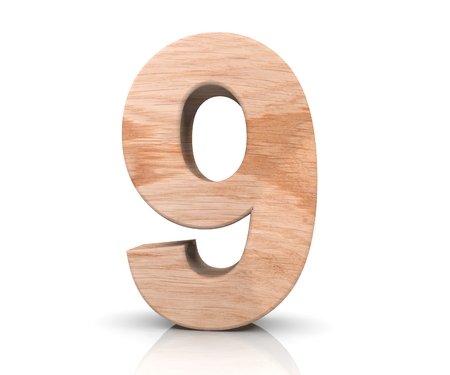 wood carving 3d: Decorative wooden alphabet digit nine symbol - 9. 3d rendering illustration. Isolated on white background