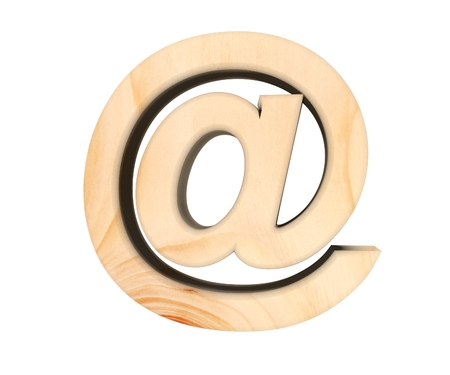Alphabet wooden texture at email mark sign letter. 3d rendering illustration