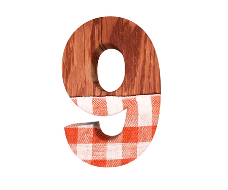 Decorative wooden with kitchen tablecloth alphabet digit nine symbol - 9. 3d rendering illustration. Isolated on white background