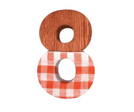 Decorative wooden with kitchen tablecloth alphabet digit eight symbol - 8. 3d rendering illustration. Isolated on white background Stock Photo