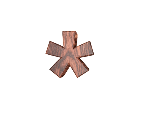Decorative wooden digit symbol multiplication sum sing. 3d rendering illustration. Isolated on white background