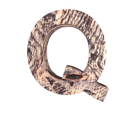 3D decorative wooden Alphabet, capital letter Q