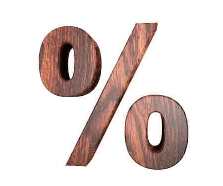 Decorative wooden alphabet digit percent symbol. 3d rendering illustration. Isolated on white background