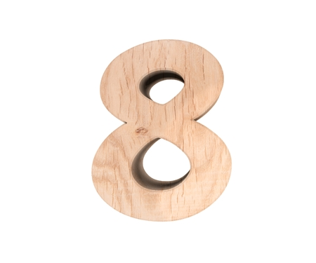 Decorative wooden alphabet digit eight symbol - 8. 3d rendering illustration. Isolated on white background