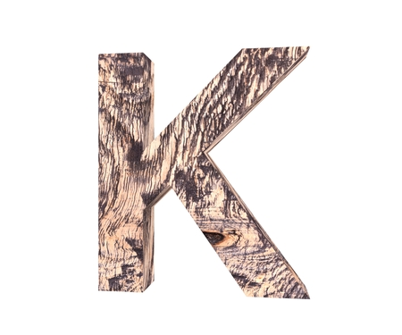 plywood: 3D decorative wooden Alphabet, capital letter K