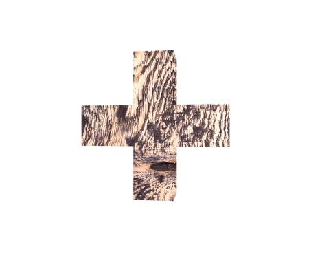Decorative wooden alphabet digit symbol plus sum sing mark letter. 3d rendering illustration. Isolated on white background