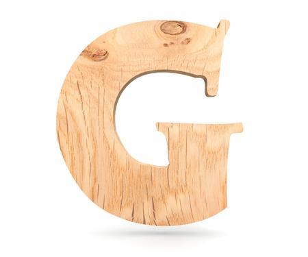 Dekoratives hölzernes Alphabet 3D, Großbuchstabe G Standard-Bild - 86313515