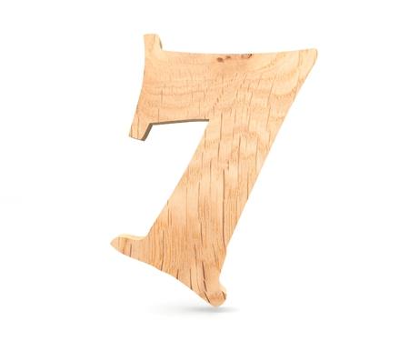 Decorative wooden alphabet digit seven symbol - 7. 3d rendering illustration. Isolated on white background