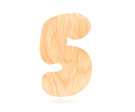 Decorative wooden alphabet digit five symbol - 5. 3d rendering illustration. Isolated on white background Stock Photo