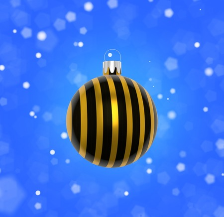 3D Illustration. Closeup of Christmas tree decoration with black and gold stripes and blurred background of blue sky and falling snowflakes.