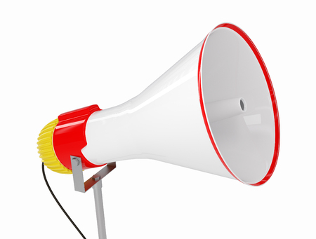 Red and white bullhorn public address megaphone isolated on white background. 3D rendered illustration.
