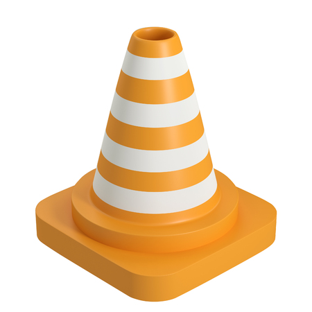 Traffic road cone top view. Road sign isolated on white background. 3d rendering illustration