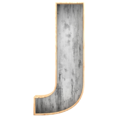 3D decorative concrete with wooden border Alphabet, capital letter J