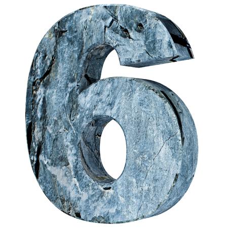 The number six - 6 from stone. 3D Render Illustration Reklamní fotografie