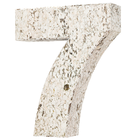 The number seven - 7 from stone. 3D Render Illustration