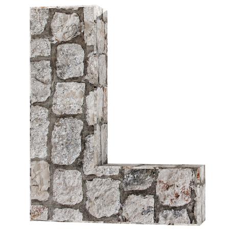 Capital letter - L from stone bricks. 3D Render Illustration.