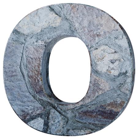 Capital letter - O from stone. 3D Render Illustration Banco de Imagens