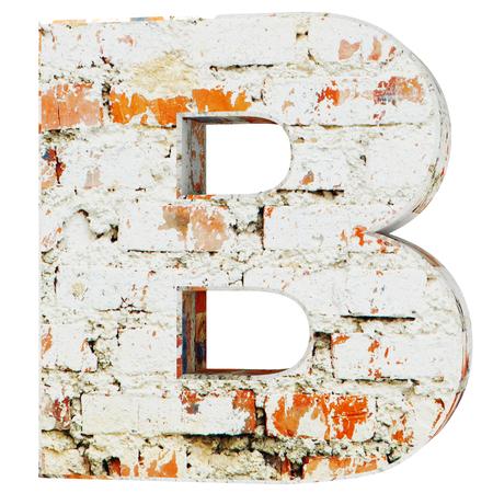 Capital letter - B from dirty bricks. 3D Render Illustration