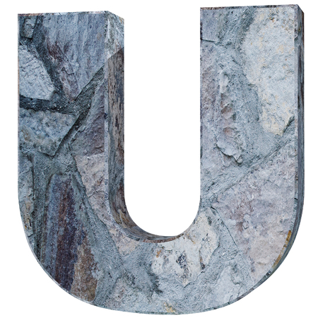 Capital letter - U from stone. 3D Render Illustration Stock Photo