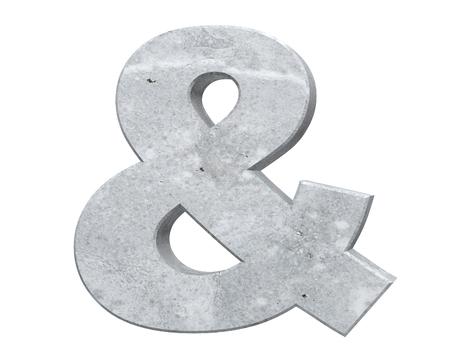 3D rendering concrete symbol - ampersand. 3D render Illustration. Stock Photo
